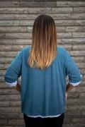 Дамска блуза с релефна шампа две в едно в синьо