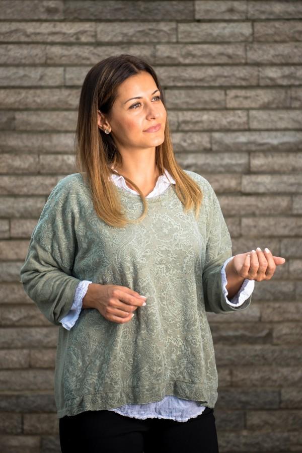 Дамска блуза от фино плетиво две в едно в сиво