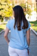 Дамска небесно синя блуза с щампа сърце