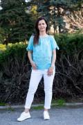 Дамска блуза в светло син цвят от фина материя
