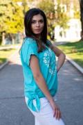 Дамска блуза със сърце от маргаритки в морско зелено
