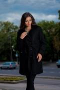 Черно дамско палто от меко букле с колан
