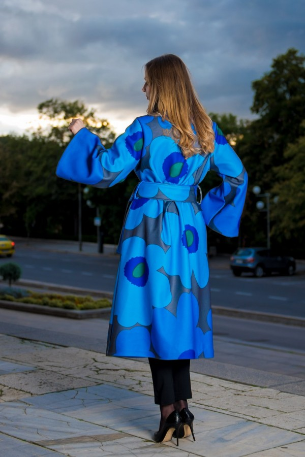 Дамско есенно палто със свободна кройк в цвят blue-royal