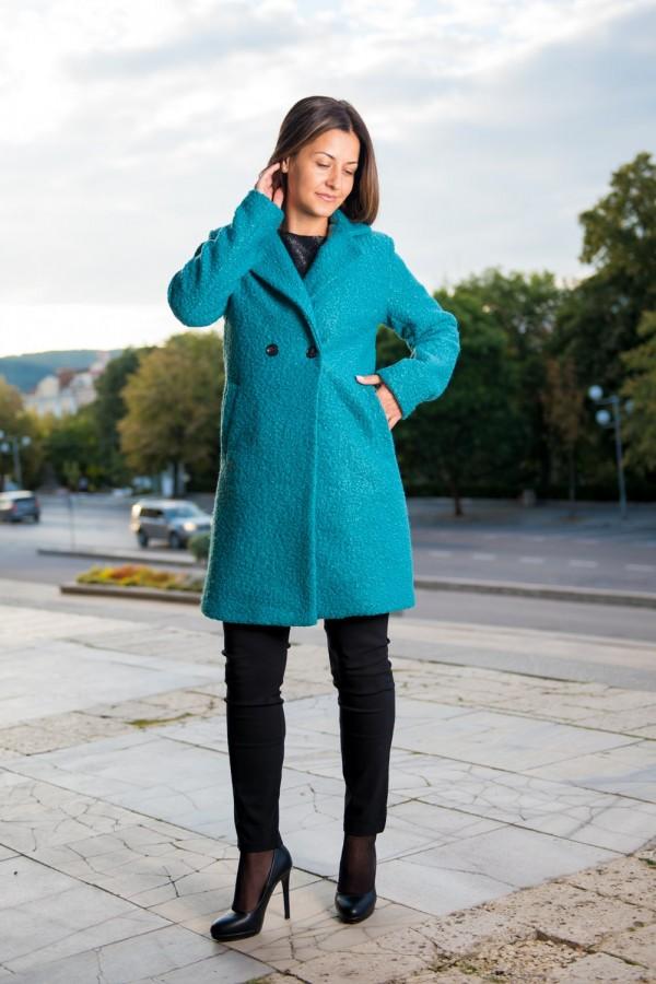 Дамско палто с подплата в морско зелено