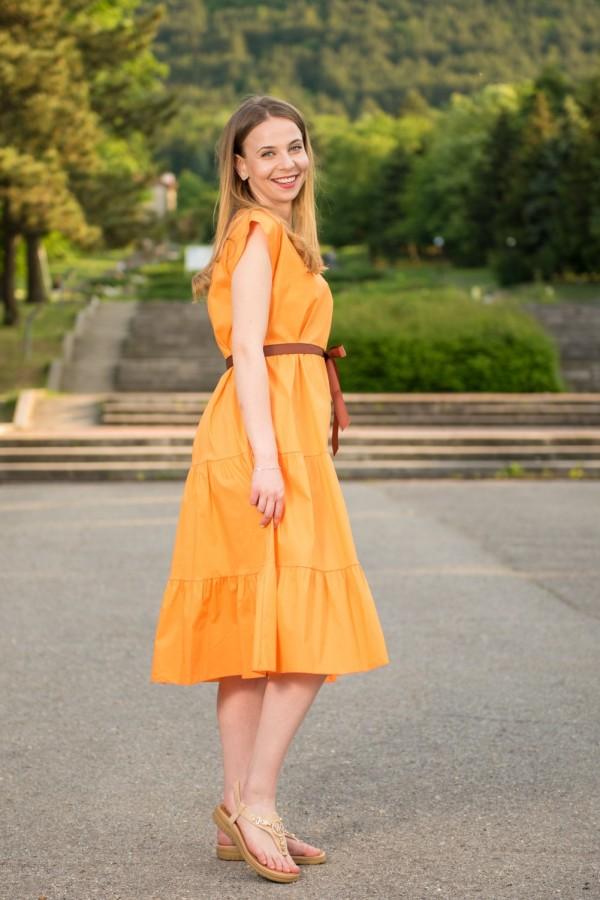 Дамска дълга оранжева рокля с коланче