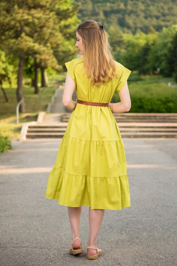 Дамска памучна рокля в лимонено зелен цвят