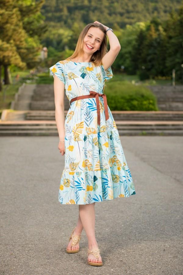 Дамска дълга памучна рокля с колан и десен цветя