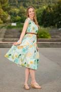 Памучна дамска рокля на цветя в нежно зелен нюанз