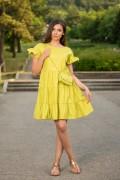 Дамска къса памучна рокля в цвят лайм