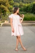Памучна дамска рокля в бебешко розов цвят