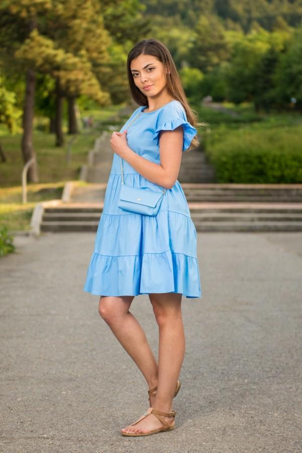 Дамска рокля с чантичка в парижко синьо