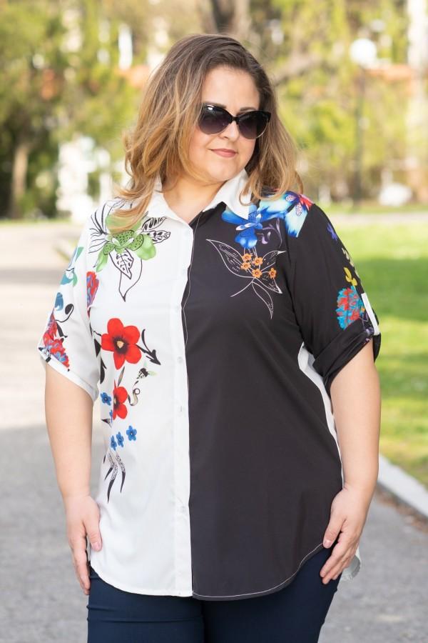 Макси риза в бяло и черно