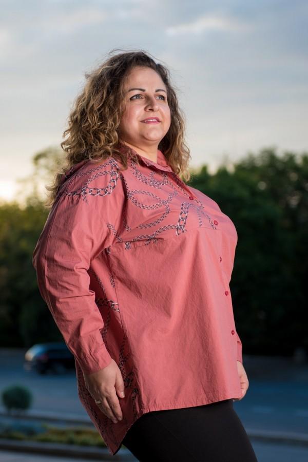 Макси памучна дамска риза в матиран розов цвят