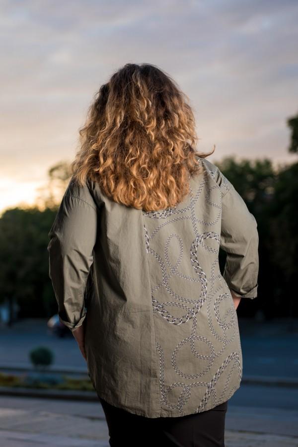 Макси дамска риза от памук с яка