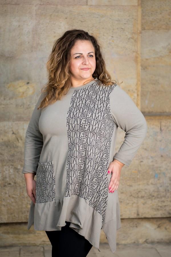 Макси памучна асиметрична туника с джоб в сив цвят