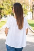 Памучна блуза с рязана бродерия в бяло