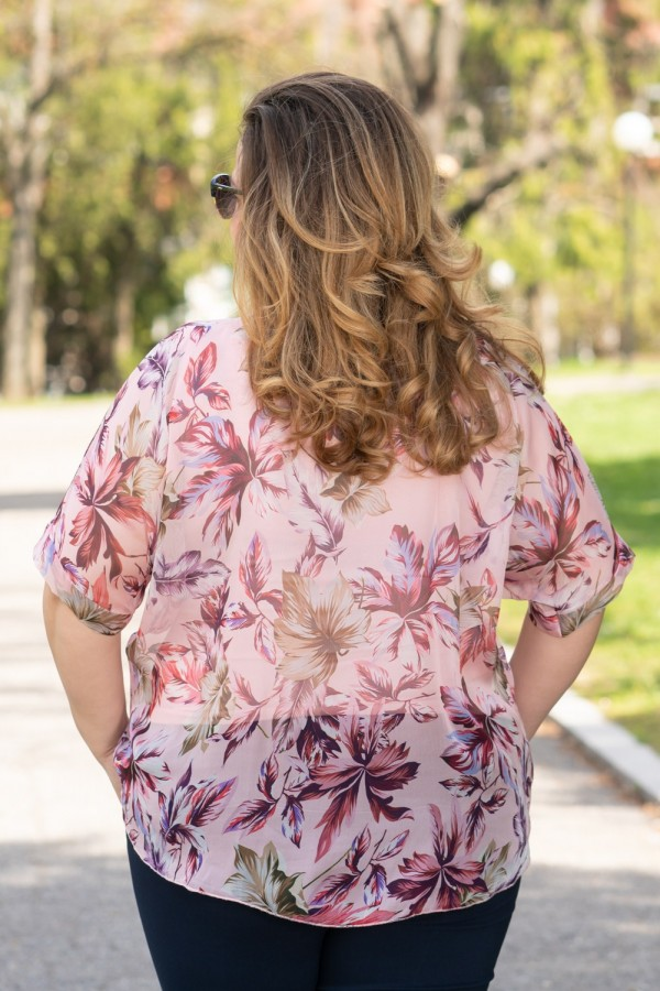 Макси елегантна шифонена блуза в розово