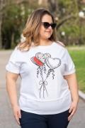 Макси блуза от трико с щампа балони