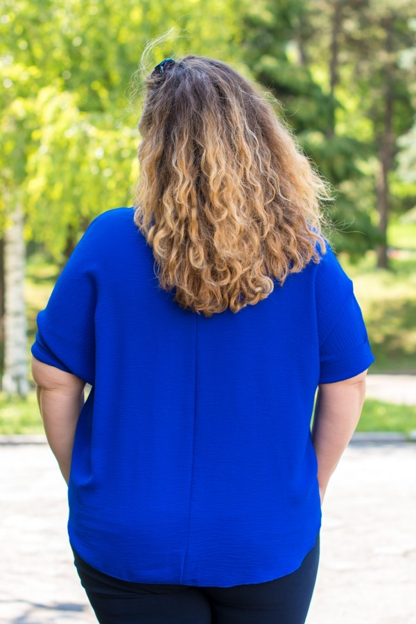 Макси едноцветна блуза с аксесоар в парижко синьо