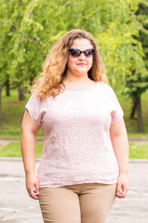Макси дамска ленена блуза в пастелен розов цвят