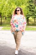 Макси елегантна шифонена блуза на красиви цветя