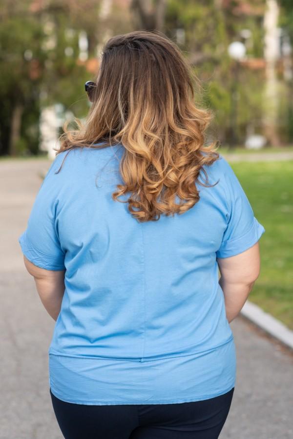 Макси памучна блуза в небесно син цвят
