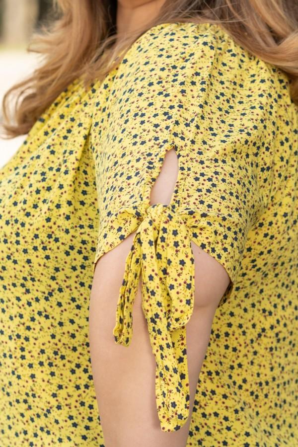 Макси блуза от лека материя в жълто