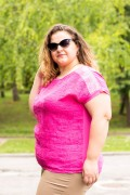 Макси цикламена блуза от лен с къс ръкав