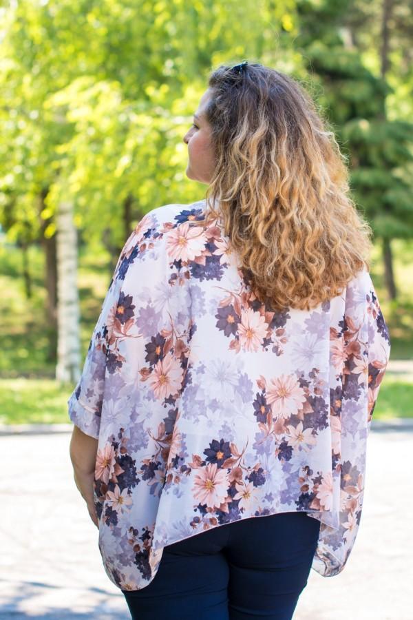 Макси асиметрична дамска блуза на цветя