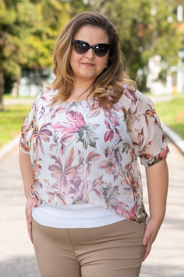 Макси блуза от шифон на цветя с къс ръкав