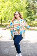 Макси елегантна асиметрична блуза с флорални мотиви