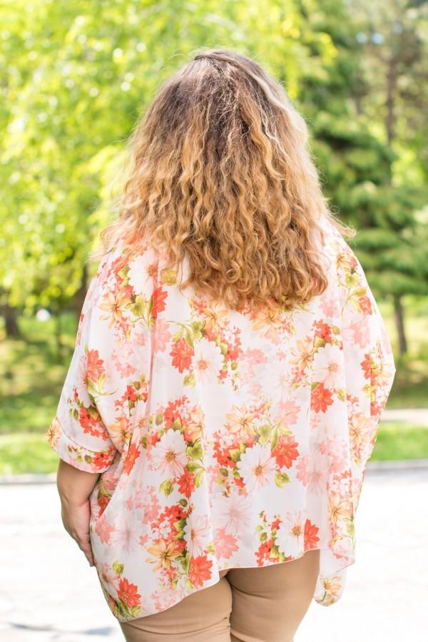 Макси ефирна блуза с флорални мотиви