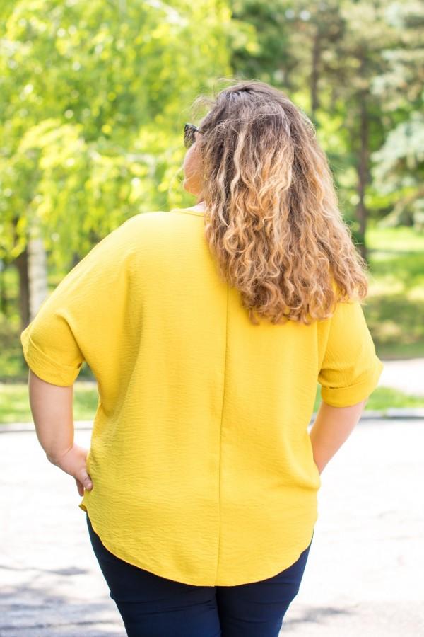 Макси елегантна едноцветна дамска блуза с гердан