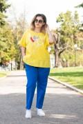 Макси дамска жълта блуза с принт балони