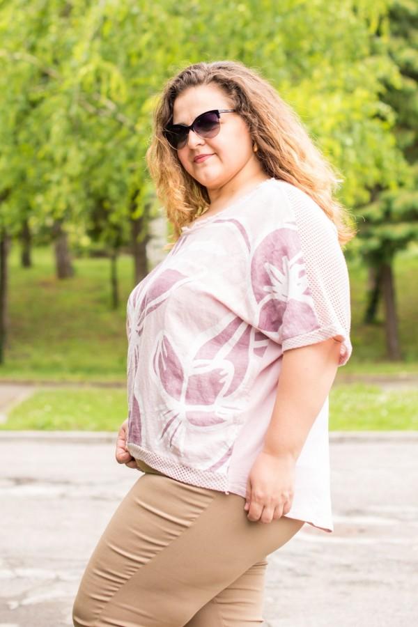 Макси блуза от лен с принт цвете