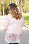 Макси асиметрична туника в нежно розов цвят с принт на цветя
