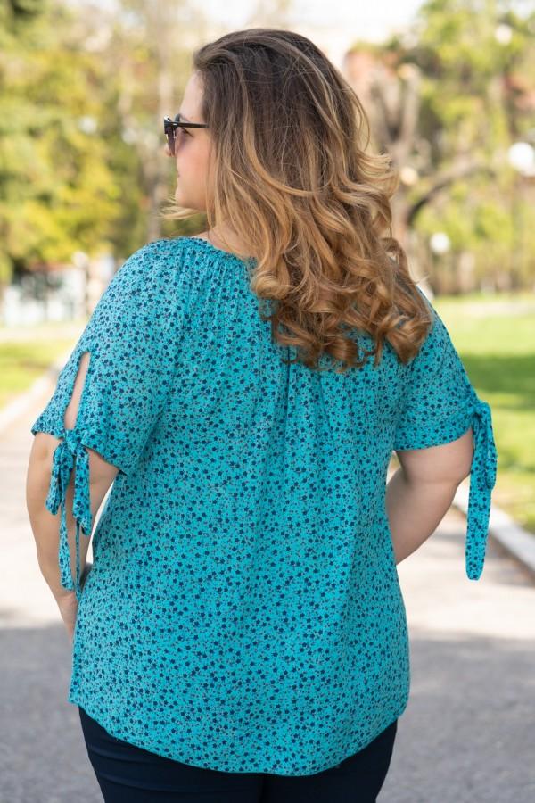Макси блуза с прав силует в цвят мента