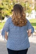 Макси блуза на цветенца в синьо