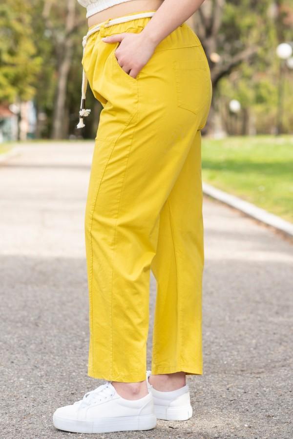 Макси дамски жълт панталон с ластик в талията