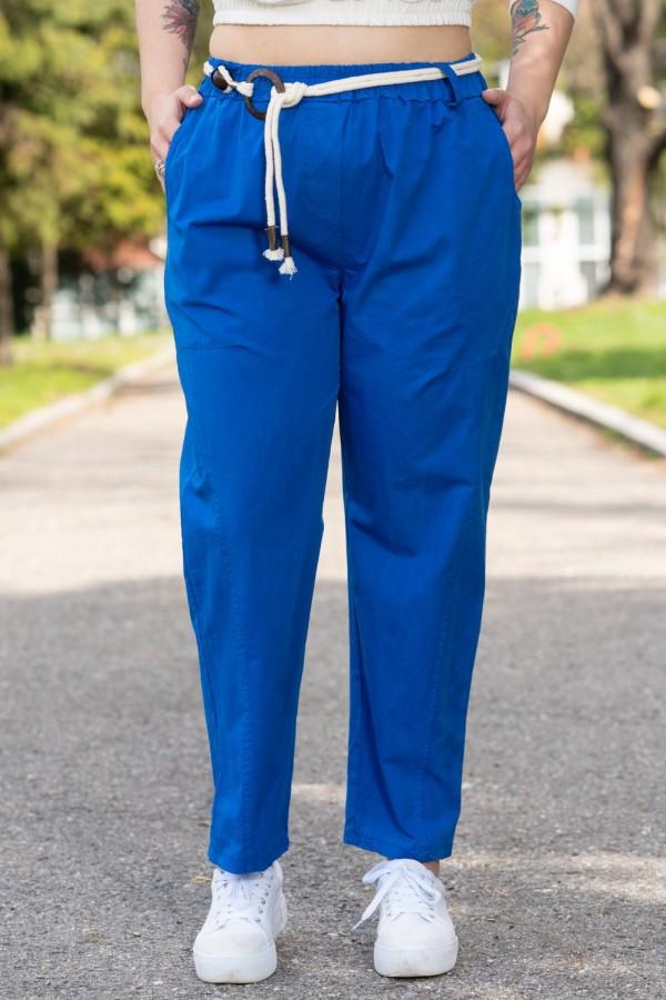 Макси панталон с колан в парижко синьо