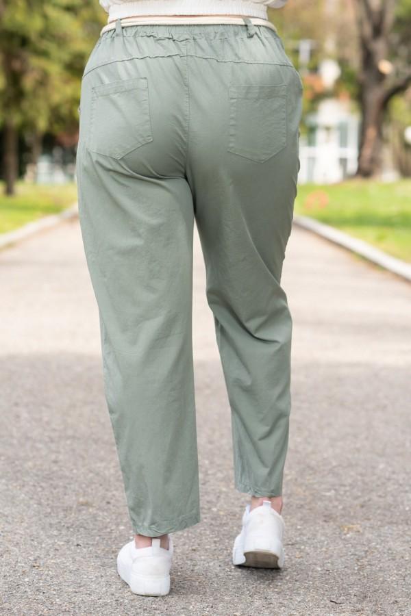 Макси дамски памучен панталон с красив колан