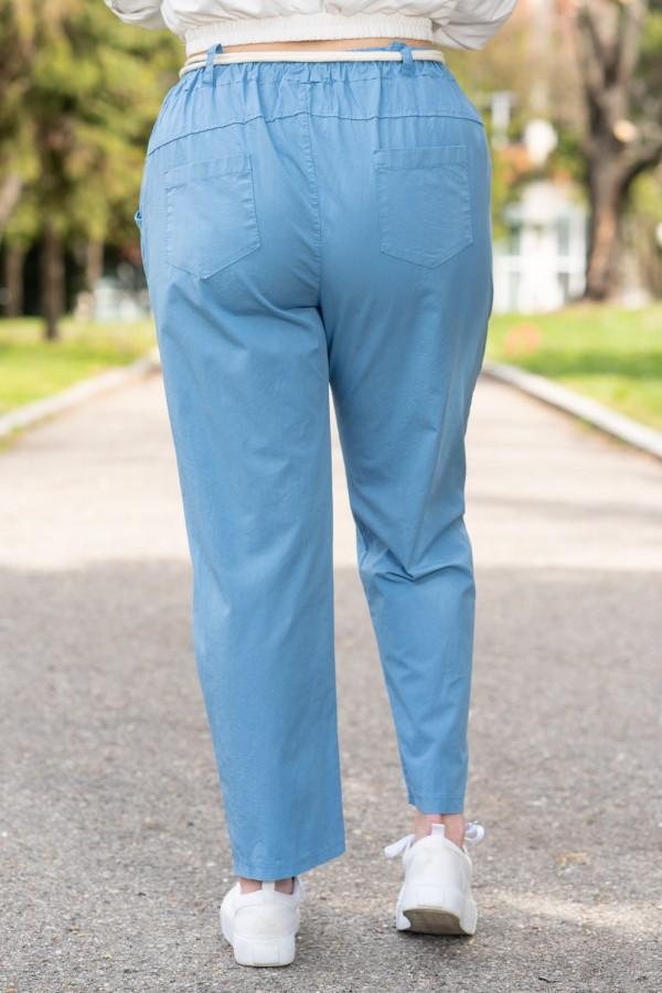 Макси памучен дамски панталон в небесно син цвят