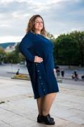 Макси рокля от меко кадифе в петролен цвят