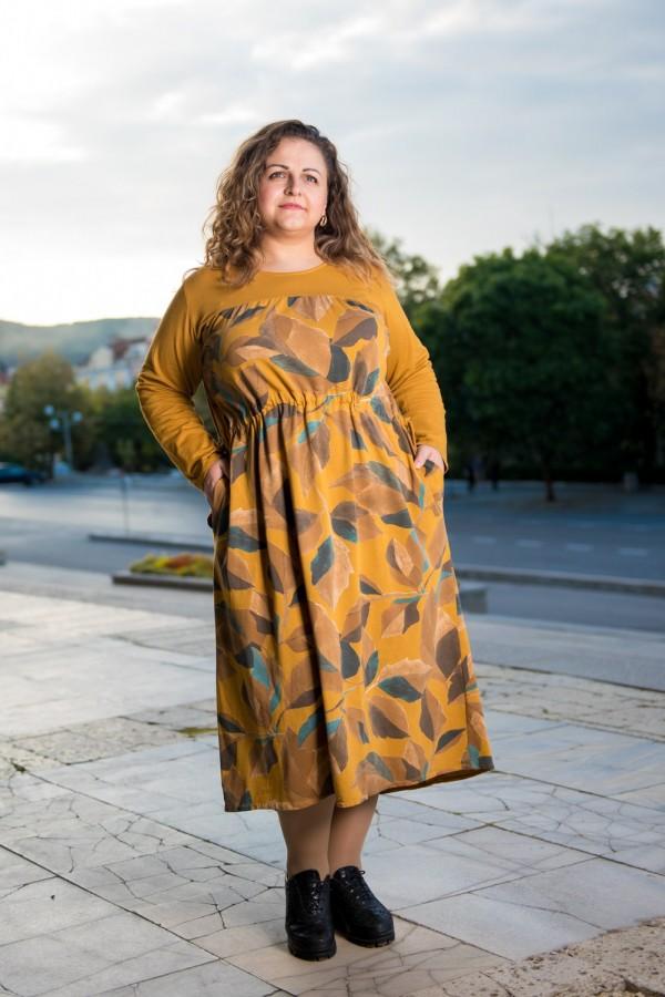 Макси памучна дамска рокля в цвят охра