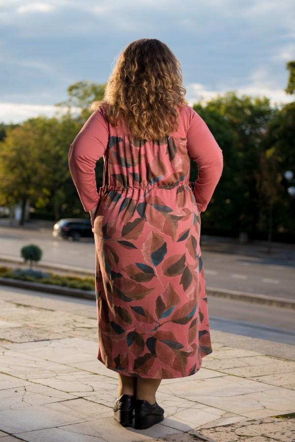 Макси рокля от памук с десен листа