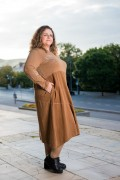 Макси рокля от памук и меко кадифе