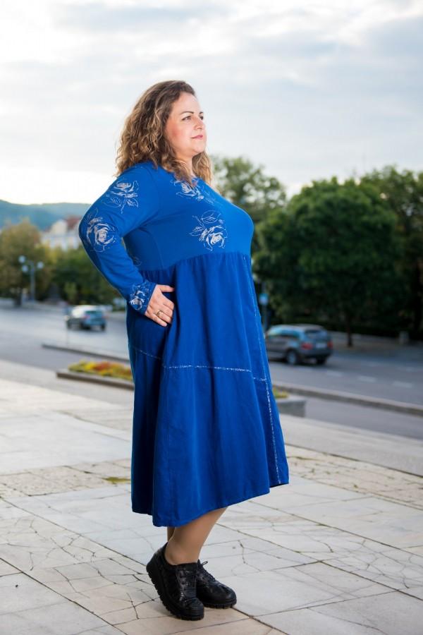 Макси дамска рокля от памук в кралско син цвят
