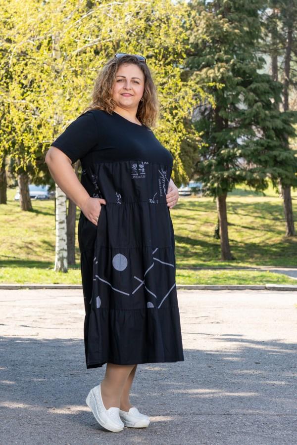 Макси ежедневна памучна рокля в черно