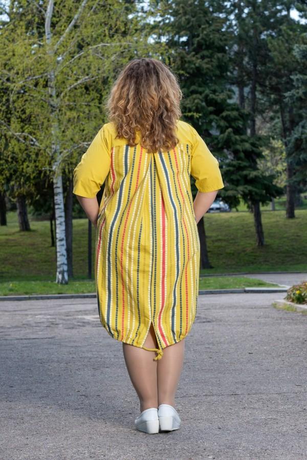 Макси памучна дамска рокля в жълт цвят