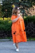 Макси дамска оранжева рокля от естествена материя